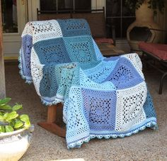 Beautiful blue #crochet blanket made by Pammy Sue