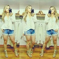 Short jeans + blusa mara!!
