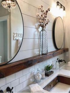 Bathroom ideas 585819864016648606 - I love this collection of farmhouse bathrooms. These bathrooms are stunning. The perfect touch of farmhouse and rustic. shiplap bathroom, farmhouse bathroom, subway tile, wood beam, rustic bathroom Source by Shiplap Bathroom, Bathroom Interior, Bathroom Cabinets, Dyi Bathroom, Remodel Bathroom, Bathroom Canvas, Restroom Remodel, Bathroom Colors, Bathroom Vanities