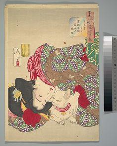 Tsukioka Yoshitoshi (Japanese, 1839–1892) - Teasing the Cat. 1888. Meiji period (1868–1912)