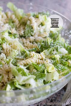 Fusilli Caesar Salad by tasteandtell: A fresh take on the Caesar salad, this pasta salad/green salad hybrid is combined with a homemade dressing for a perfect side dish or potluck salad. Pasta Recipes, Salad Recipes, Dinner Recipes, Cooking Recipes, Healthy Recipes, Detox Recipes, I Love Food, Good Food, Yummy Food
