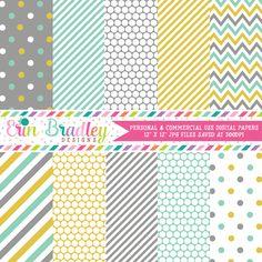 Aqua Gold Gray Digital Paper Pack – Erin Bradley/Ink Obsession Designs
