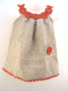 Linen organic coral flower dress / tunic crochet  dress/ sew   for the baby / toddlers / girl of any size. $40.00, via Etsy.