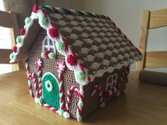 Crochet Gingerbread House, with hinged roof to fill with stocking fillers for the table on Christmas Eve.