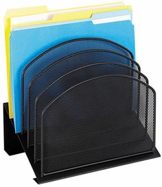 Safco Onyx Mesh Desk Organizer - Five Tiered Sections - #onewayfurniture #dreamroom