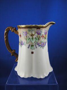 "Haviland Limoges Arts & Crafts Floral Motif Pitcher (Signed ""Isabelle from darkflowers on Ruby Lane"