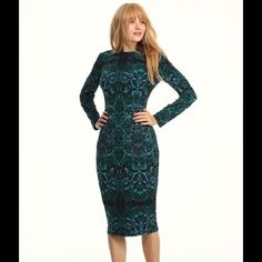 """Teal Stained Glass 3/4 Sleeve Midi Dress **Reasonable Offers Welcome**  - Length 43""""  - Jersey - Round - 3/4 sleeve - Fully lined - No Pockets - Center Back Invisible Zipper -Machine Wash Cold with like color, Lay flat to dry London Times Dresses Midi"""