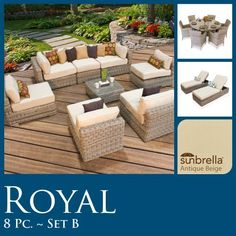 "17 Pc Outdoor Patio Set 8pc Seating & 7pc Dining & 2 Chaise Lounge Wicker Sunbrella Covers!! by TK Classics. $4883.00. High Density PE (polyethylene) recyclable wicker - NOT made with PVC which is toxic and non-recyclable. Comes Standard with Sunbrella Cushions. Ultra Deep seating modular sectional, allows for a variety of creative configurations. (2) Corner Sofa - 35"" W x 35"" D x 26"" H (1) Coffee Table - 27"" W x 27"" D x 12"" H (5) Armless Sofa - 27"" W x 35"" D x 26"" H (1) Royal ..."