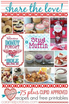 Share the Love - great recipes and free printables to get your Cupid On!