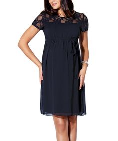 Look at this Ebru Black Lace Empire-Waist Maternity Dress - Women on #zulily today!
