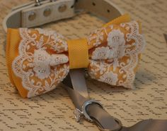 Silver and Yellow Dog ring bearer, Dog Bow tie, Pet Wedding accessory, Pet lovers, Vintage wedding, Boho Wedding ideas