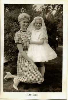 Antique Vintage Photograph Mom With Little Girl in First Holy Communion Dress
