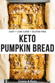 A delicious keto pumpkin bread chock full of warm spices and amazing pumpkin flavor. Made with almond and coconut flours to keep it healthy, gluten-free, and low-carb. // Green And Keto -- Ketogenic Recipes, Low Carb Recipes, Diet Recipes, Healthy Recipes, Muffin Recipes, Steak Recipes, Coconut Flour Recipes Low Carb, Keto Bread Coconut Flour, Almond Flour Muffins