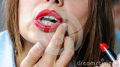 Photo about woman painting lips fingers mouth makeup detail. Image of mouth, beautiful, adult - 47368760 Lips Painting, Woman Painting, Red Lips, Fingers, Sexy Women, Lipstick, Cosmetics, Stock Photos, Detail