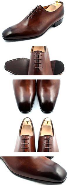 #Bespoke #custom made to measure brown patina men dress shoes