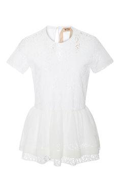 Lace and Chiffon Peplum Top by No. 21 Now Available on Moda Operandi