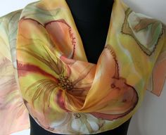 Painted silk scarf. Sunny Day Scarf. Hand Painted Amber and Honey Gold Flowers. Sunshine Yellow Silk Scarf. Golden Art Silk Scarf.https://www.etsy.com/listing/451542648/painted-silk-scarf-sunny-day-scarf-hand?ref=shop_home_active_1