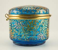 Moser glass trinket box, by my great great great grandfather, Ludwig   Moser. Wish I could afford it.