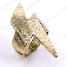 1PC Bronze Lightning Fashion Finger Ring US 7.5 Korean Punk Jewelry Free ship