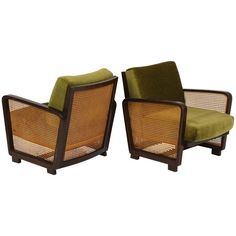 Green Velvet Woven Wicker Rattan Chairs Deco Modernist, Mid-Century, France | From a unique collection of antique and modern lounge chairs at https://www.1stdibs.com/furniture/seating/lounge-chairs/