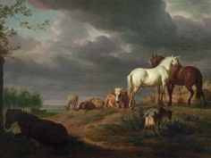 Adriaen van de Velde (Amsterdam Amsterdam) Landscape with horses and… Champs, Cattle Panels, Brown Horse, White Horses, 17th Century, Les Oeuvres, Art History, Landscape Paintings, Nature
