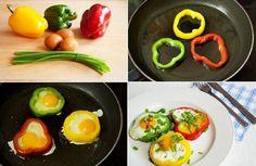 Huevos a la plancha con pimientos.