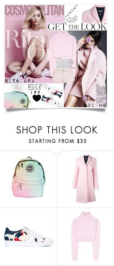 """Get the Look: Rita Ora & Sui He"" by lushxoxo ❤ liked on Polyvore featuring MSGM, adidas Originals, Balmain and Current/Elliott"