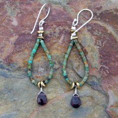 (http://www.elizabethplumbjewelry.com/teardrop-turquoise-loops-and-garnet-earrings/)