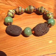 Diffuser Bracelet- green and brown -lava rock/ paper beads