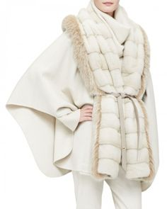 ea0be4ef75d Loro Piana Women s Mink Fox Fur Park Lane Cape White One