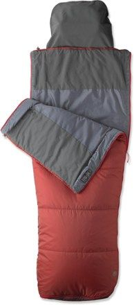 A compressible bag that will keep you warm down to 40°F on spring and summer outings, this camping bag has synthetic insulation, a smooth taffeta lining and a stowaway soft pillow pocket.