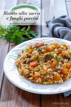 Gustoso #risotto con #zucca e #funghi porcini secchi, facilissimo da preparare #ricetta #primipiatti #pumpkinrecipes #autumn