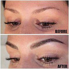Microblading Eyebrows : Illustration Description Eyebrow tattoo by Jette Scherzer. Eyebrow Tattoo Makeup, Permanent Makeup Eyebrows, Makeup Tattoos, Eye Makeup, Hair Makeup, Eyebrow Wax, Eyebrow Tinting, Makeup Kit, Feather Eyebrow Tattoo