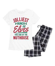 Nap Chat White   Black Plaid Jolliest Bunch of Elves Pajama Set - Women  436497531