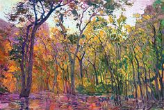 Zion National Park: cottonwood trees at the Lodge, oil painting by Erin Hanson.   At the Lodge 2015 OIL ON CANVAS by erin hanson 60 x 40 in $9,000  A rainy afternoon at the Lodge, deep in the canyons of Zion National Park, let me see the autumn-hued cottonwoods in a whole new light, their colors drenched and saturated in the low light. The brush strokes in this painting are loose and impressionistic, creating a mosaic of color and texture across the canvas.