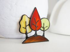 Items similar to Stained Glass Brooch Autumn Forest, Tiffany Technique Jewelry, Green Yellow and Red Trees, Best Gift for Her on Etsy