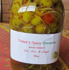 Sweet and Spicy Tomatoes, Pickled Green,cherry Tomatoes from Food.com:   								Aah! The gardens bounty at it's end! Green tomatoes from cherries to plum to whatever you grew. Some red mostly green. This is a nice way to save and savory those garden goodies.