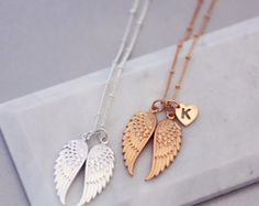 Angel wings necklace | Family necklace | Wanderlust jewellery | Bohemian jewellery | Statement necklace | Memorial jewellery | Wish necklace #ad