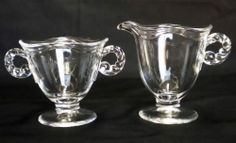 Fostoria Coronet Pattern Sugar Bowl and Creamer Vintage 1938-1959 Discontinued