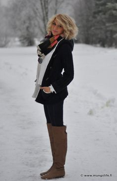 Black peacoat with brown riding boots