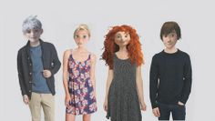 This is cute. I love Rapunzel's outfit || From left to right: Jack Frost (RotG), Rapunzel (Tangled), Merida (Brave), and Hiccup (HtTYD)