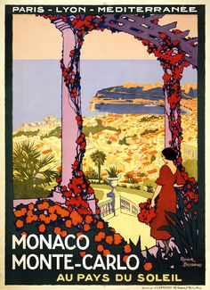 Monaco, Monte-Carlo, au pays du soleil, travel poster by Roger Broders for PLM, ca. 1920