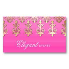 Wedding Event Planner Indian Salon Damask Pink Gold Business Card