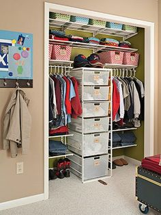 kids closets - some great ideas. My favorite is the one pictures. Moving into smaller bedrooms will be tricky with larger furniture (downsizing is always so much harder than upsizing). So, these types of suggestions really come in handy.