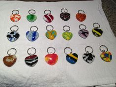 Heart Keychains handmade by glass fusing