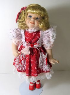 """Porcelain Valentine Doll with Stand #40716 LTD-VDP, 14"""""""