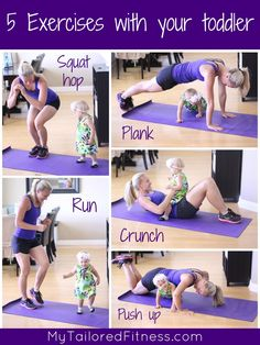 5 Exercises to do with your toddler!  Goodness this is my life, only on the plank all the children in my house try to pile on my back.  Planks + 3 kids are NOT fun!!