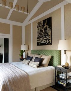 """Master bedroom walls and ceiling are covered in pale blond raffia and trimmed in off-white. """"I love playing with ceilings,"""" says Deniot. """"Most of the time they're the most boring part of a place. If you're in your chair dreaming, staring at the ceiling, it's good to have something to engage you."""""""