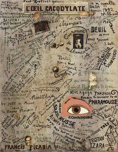 "theshipthatflew: "" Francis Picabia (French, The Cacodylic Eye (L'Oeil cacodylate), 1921 Oil with photomontage and collage on canvas, Centre Pompidou, via bildwerk "" Tristan Tzara, Marcel Duchamp, Georges Pompidou, Pompidou Paris, Alfred Stieglitz, Man Ray, Photomontage, Word Art, Dada Artists"