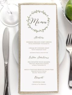 Menu Card - Rustic Wedding Menus - Dinner Menu - Brunch Menu - Spring Wedding - Fall Wedding - Floral Wreath Printed Menu Wedding Menu Card Rustic Wedding Menus by SideStreetDesigns MoreWedding Menu Card Rustic Wedding. Rustic Wedding Menu, Wedding Menu Cards, Brunch Wedding, Wedding Table, Wedding Decor, Wedding Dinner Menu, Printed Wedding Menus, Dessert Wedding, Wedding Ideas